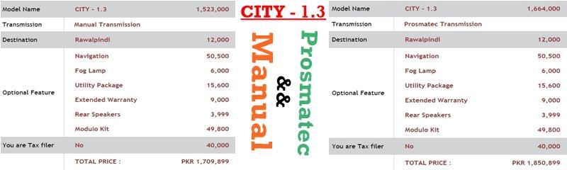 Honda Atlas Cars Price List