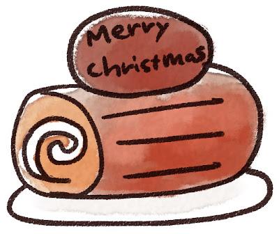 クリスマスケーキのイラスト「ブッシュドノエル」