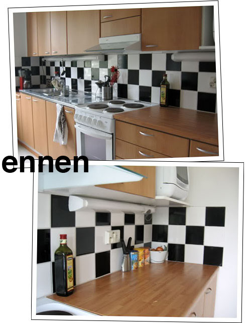visuaalisesti vaativa köyhän miehen keittiöremontt