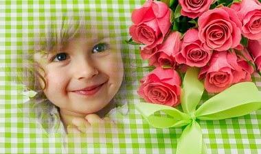 montaje de fotos rosas