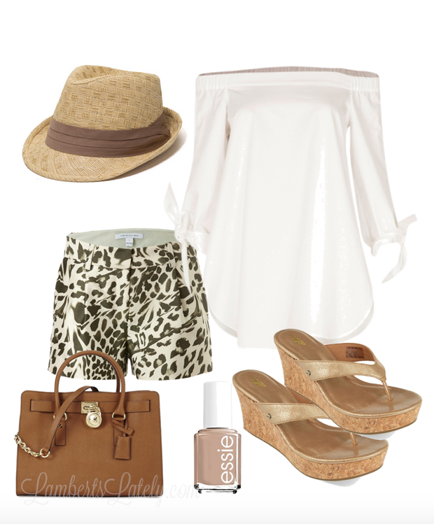 Spring and Summer Outfit Idea...Fedora, Off the Shoulder Blouse, Leopard Shorts, Wedges, Neutral Polish