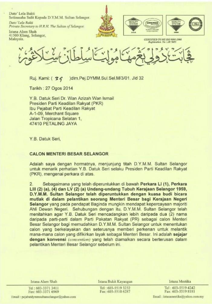 Surat Istana kepada PKR PAS DAP Sultan tetap mahu lebih dua nama calon jadi MB Selangor