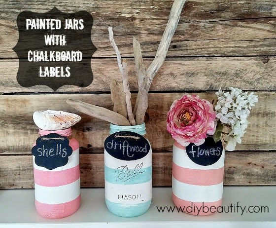 Painted Mason Jars with Chalkboard Labels www.diybeautify.com