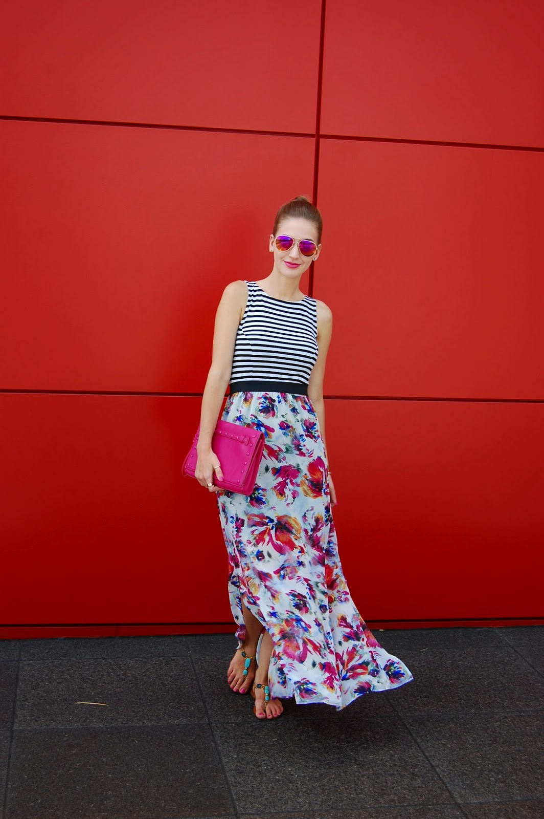 Wearing Target Xhileration Floral Striped Maxi Dress, Neiman Marcus Pink Studded Tonal Clutch, Summer 2014 Maxi dress looks