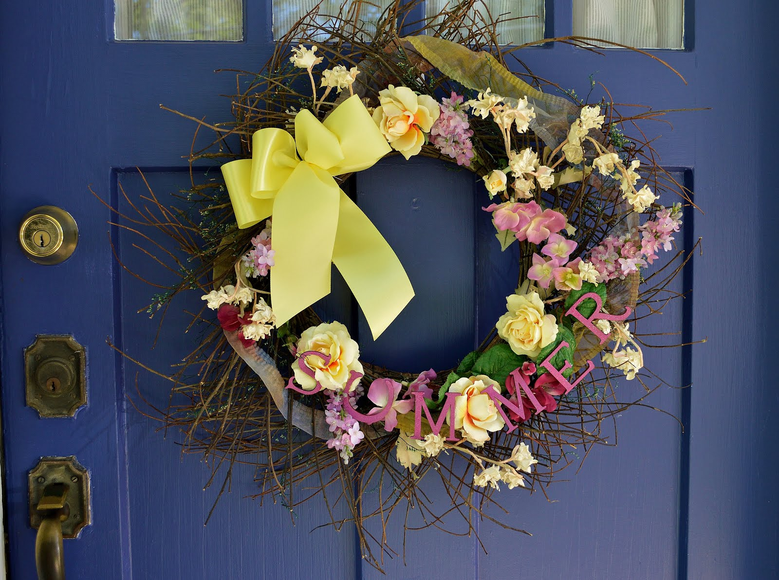 Summer Floral and Twig Wreath