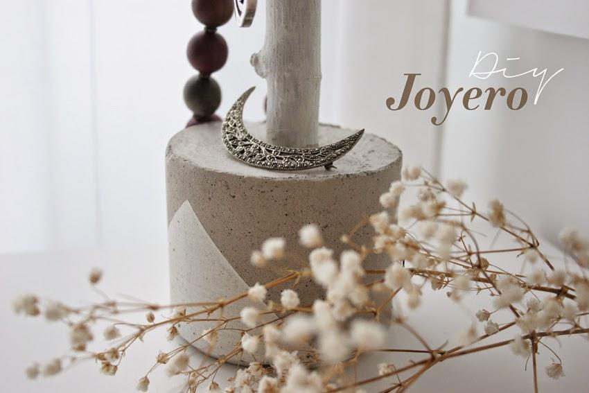 Diy joyero con rama de árbol y cemento