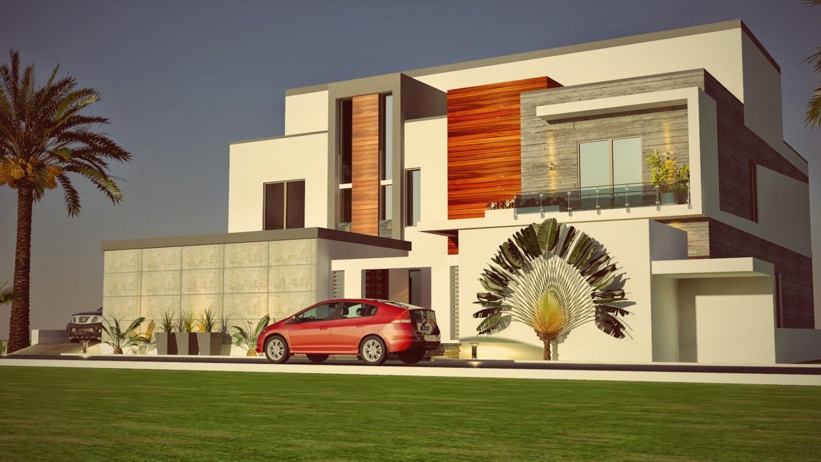 Dubai Arabian Modern Contemporary Beautiful House Design 3D Front ...