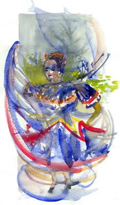 Shiho Nakaza San Diego West Coast Urban Sketchers Sketchcrawl San Diego watercolor Old Town Fiesta de Reyes Mexican dancer