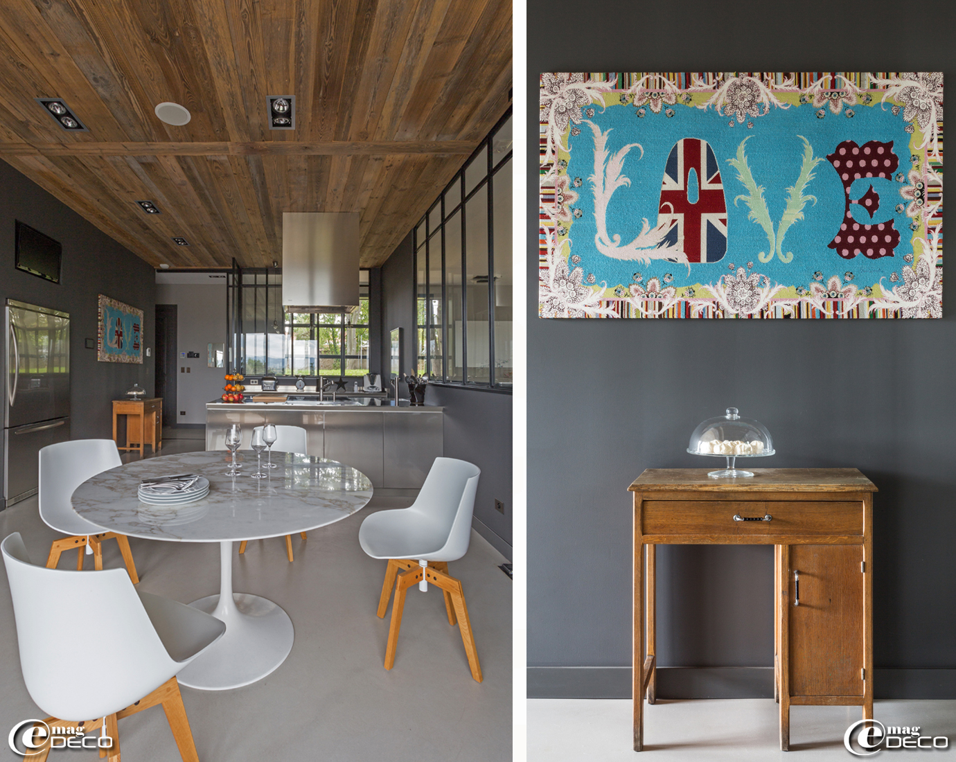 Table 'Tulip' signée Eero Saarinen achetée aux Puces du Canal chez 'Le Gaga Vintage', chaises 'Flow' de Jean-Marie Massaud, chez 'RBC', le design store à Lyon