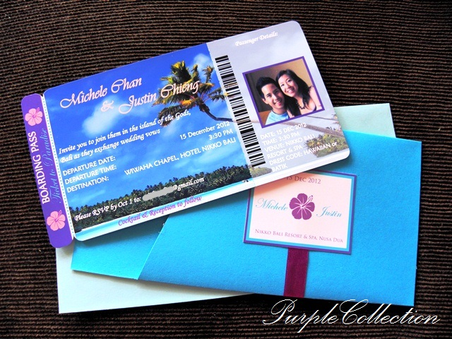 Boarding Pass Blue Beach Theme Wedding Invitation Card, Boarding Pass Blue Beach, Beach Theme, Blue, Beach Blue, Boarding Pass, Boarding Pass Pocket, Wedding Invitation, Wedding, Invitation, Invitation Card, Wedding Invitation Card, Michele & Justin, BLue purple, Hibiscus, Boarding Pass