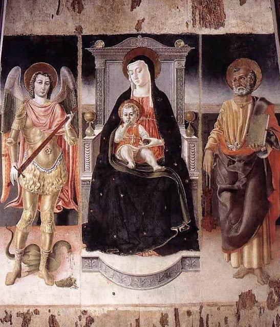 Madonna, São Pedro e São Miguel Arcanjo. Lorenzo da Viterbo (1444 – 1476) Cerveteri, igreja de Santa Maria Maggiore