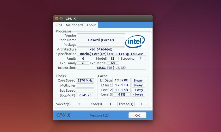 CPU-X in Ubuntu Linux
