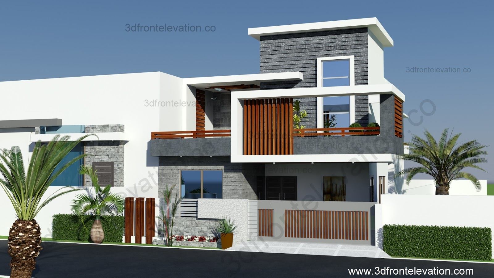 New Front Elevation Images : D front elevation marla contemporary house design