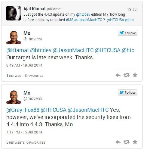 Htc One M8 inizierà l'aggiornamento alla versione Android 4.4.3 dalla prossima settimana