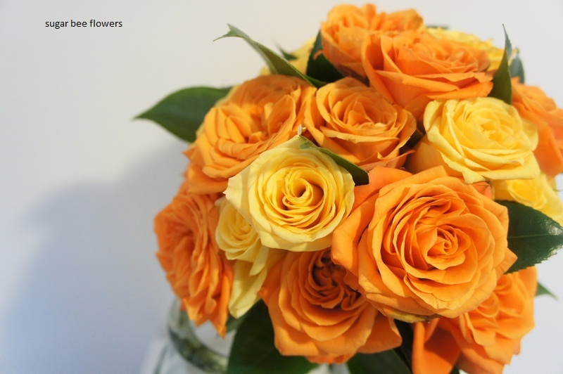 Wedding Flowers Orange And Yellow : Sugar bee flowers vibrant orange and yellow wedding bouquet