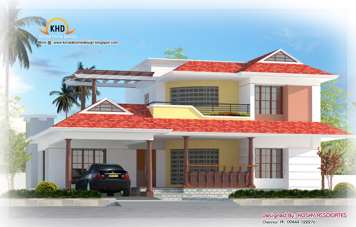 Nice duplex house elevation 2600 sq ft kerala home for Duplex images india