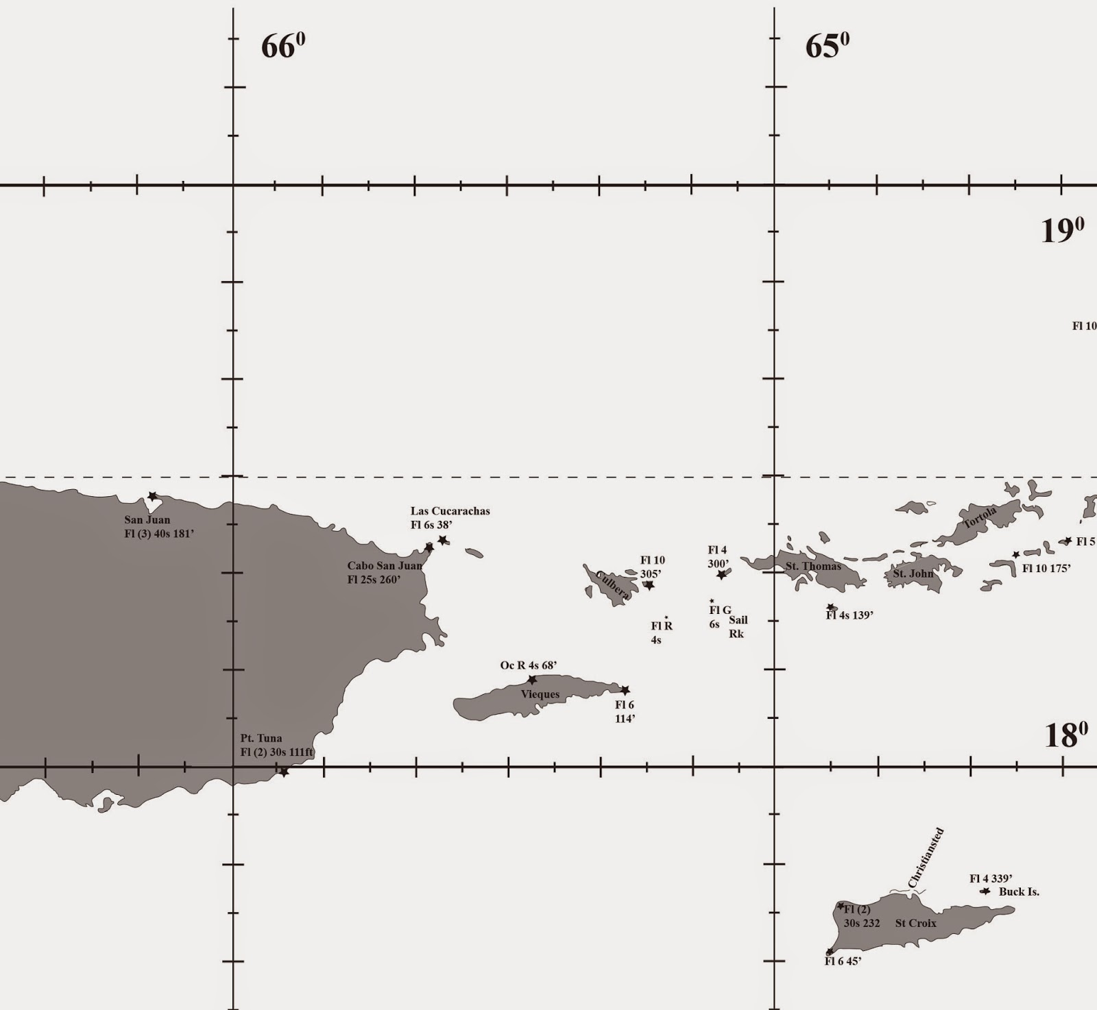 chart of the region of the cruise st croix usvi is at the bottom right and san juan is at the top left click on the image to enlarge