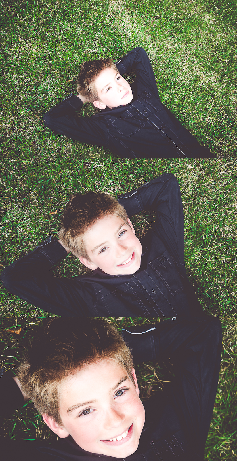 modern portraits of a child on grass