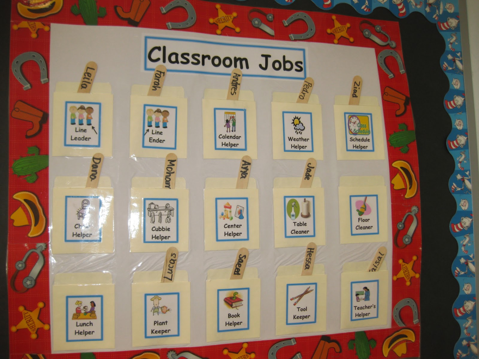 Dynamic image inside classroom job chart printable