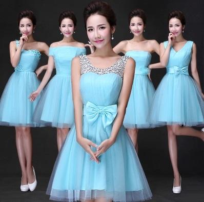 New Fresh Aqua Blue Bridesmaids Midi Dress