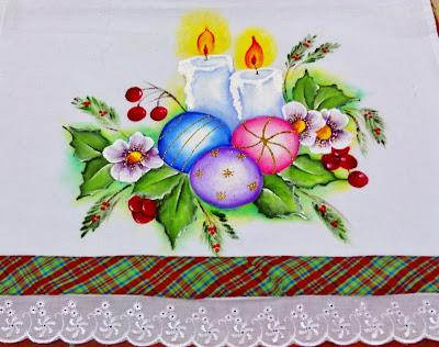 pano de copa com pintura de natal