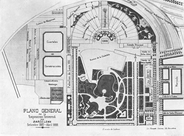 Plano Exposición Universal de Barcelona en 1888