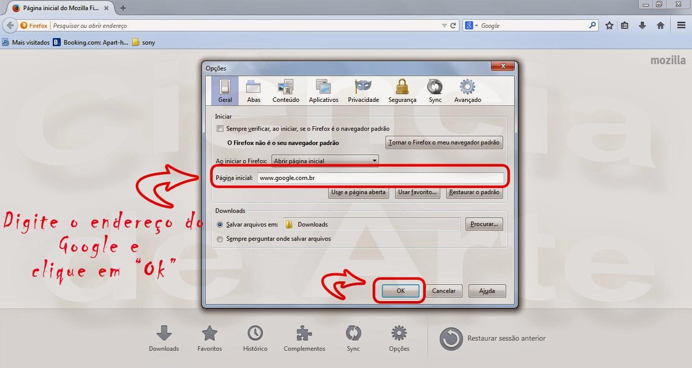 Como colocar o google como página inicial no Mozilla Firefox 4