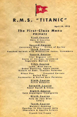 Ebl Titanic Recipes The Passengers And Crew Ate Well