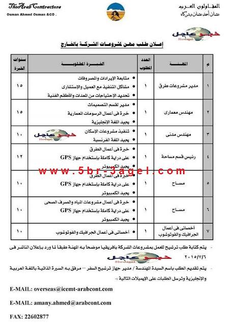 الاعلان الرسمى - لوظائف شركة المقاولون العرب ومواعيد وطريقة التقديم