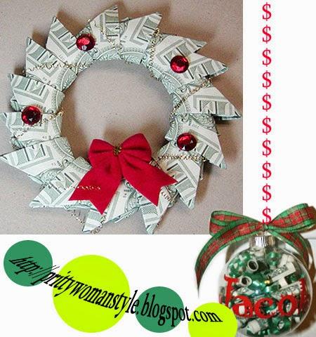 Коледна украса от пари - коледен венец и топка за елха