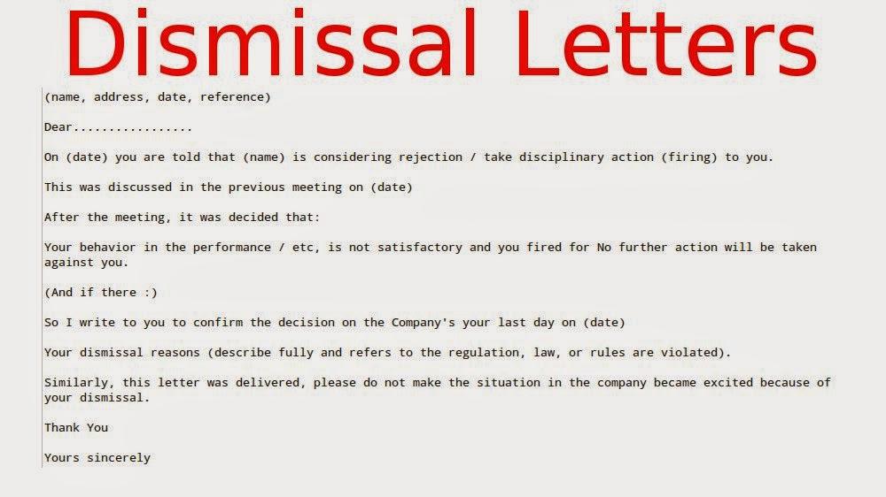 ... letter confirming dismissal | employee dismissal letter | letter of