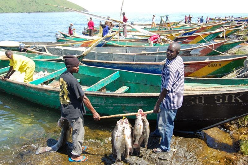 Local fishermen at the migingo island displaying their catch.