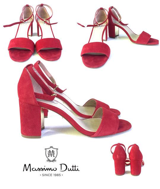 PRET REDUS!-MASSIMO DUTTI-Sandale roşii din piele întoarsă naturală, mărimea 39