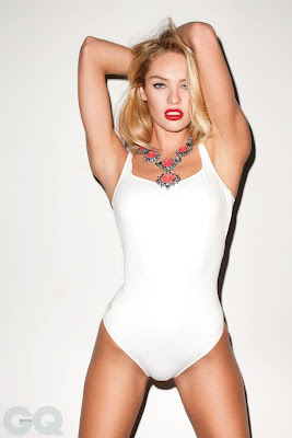 Candice Swanepoel swimsuit in the May cover shoot of GQ UK