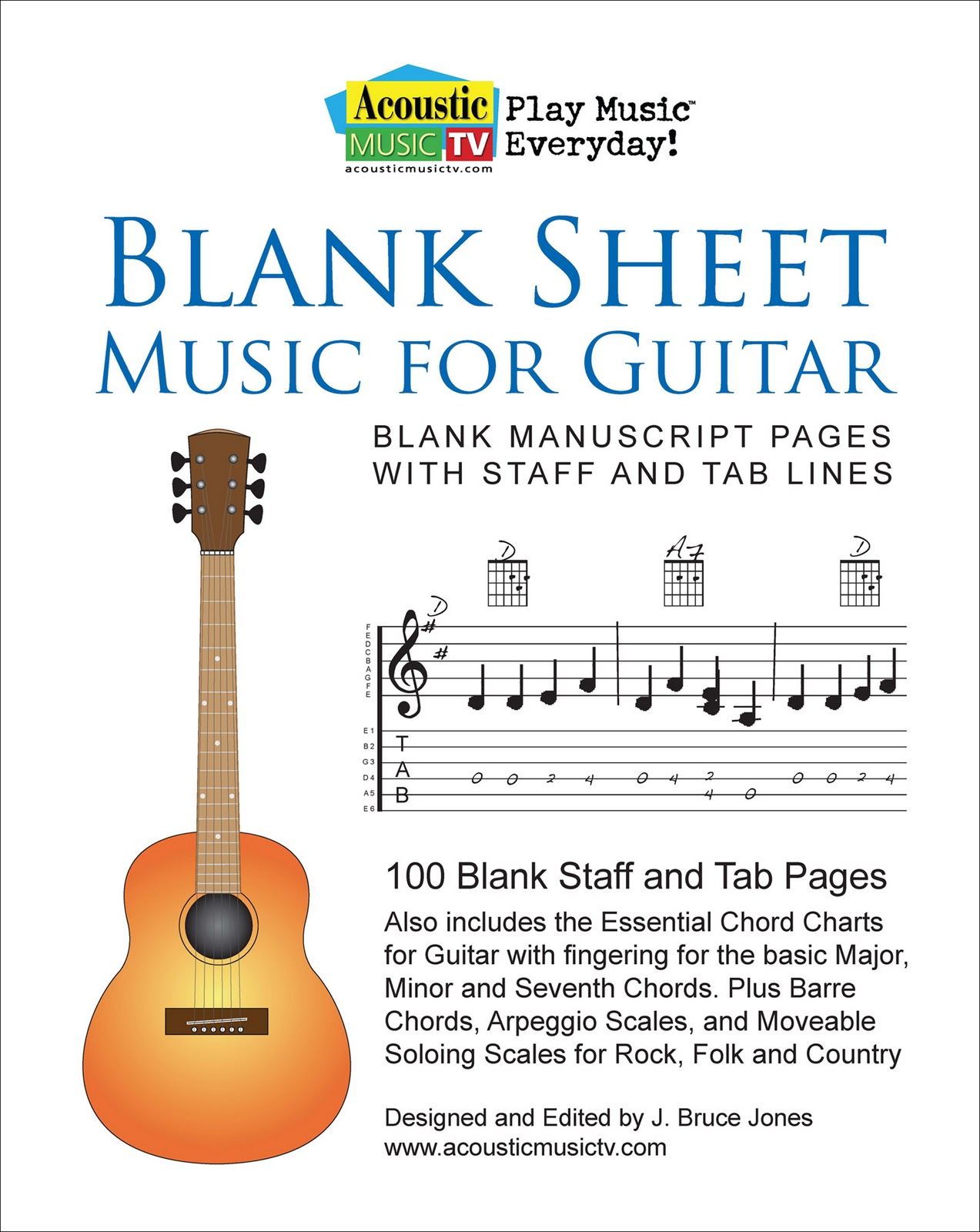 Acoustic Music Tv Blank Sheet Music Guitar