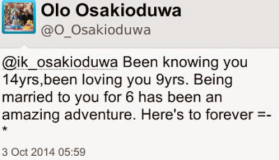 Happy Married 6th Wedding Anniversary to IK Osakioduwa & his wife Olo
