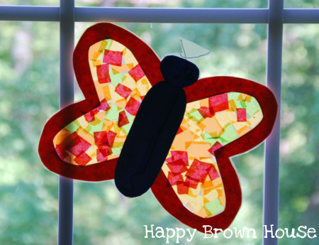 Totally tots stained glass butterfly art bugs bugs for Butterfly stained glass craft