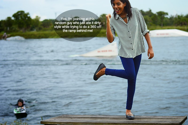 Miami Fashion Blogger Anais Alexandre of Down to Stars in a vintage black and white striped buttondown with navy pants and platform maryjanes at a family reunion