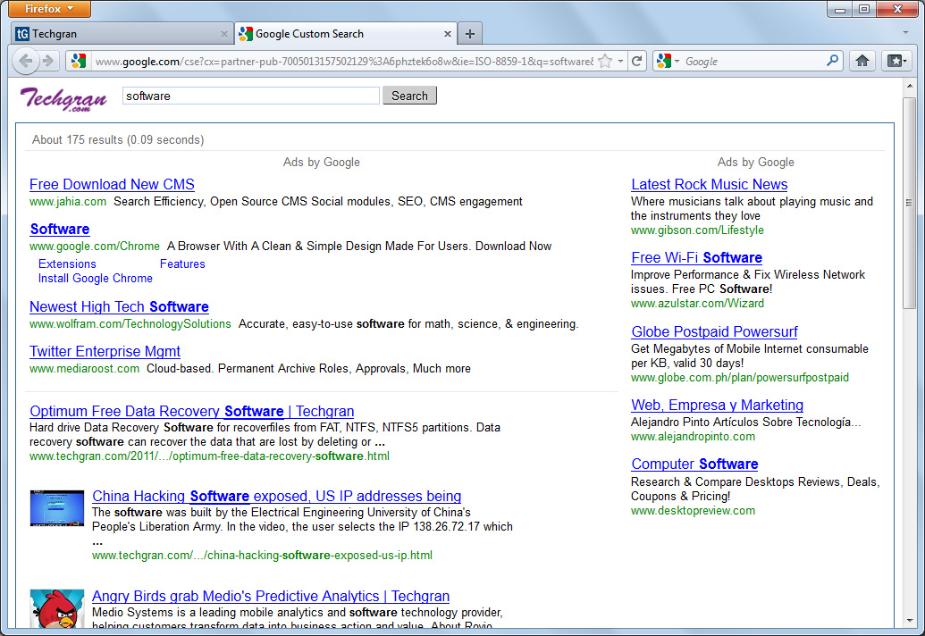 AdSense for Search, firefox quick search, quick search bar
