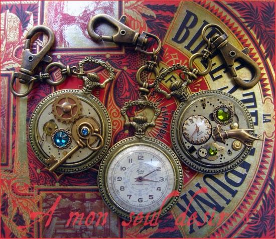 Bijoux Steampunk Montre Gousset Cadran Mécanisme Clef Horlogerie Bronze