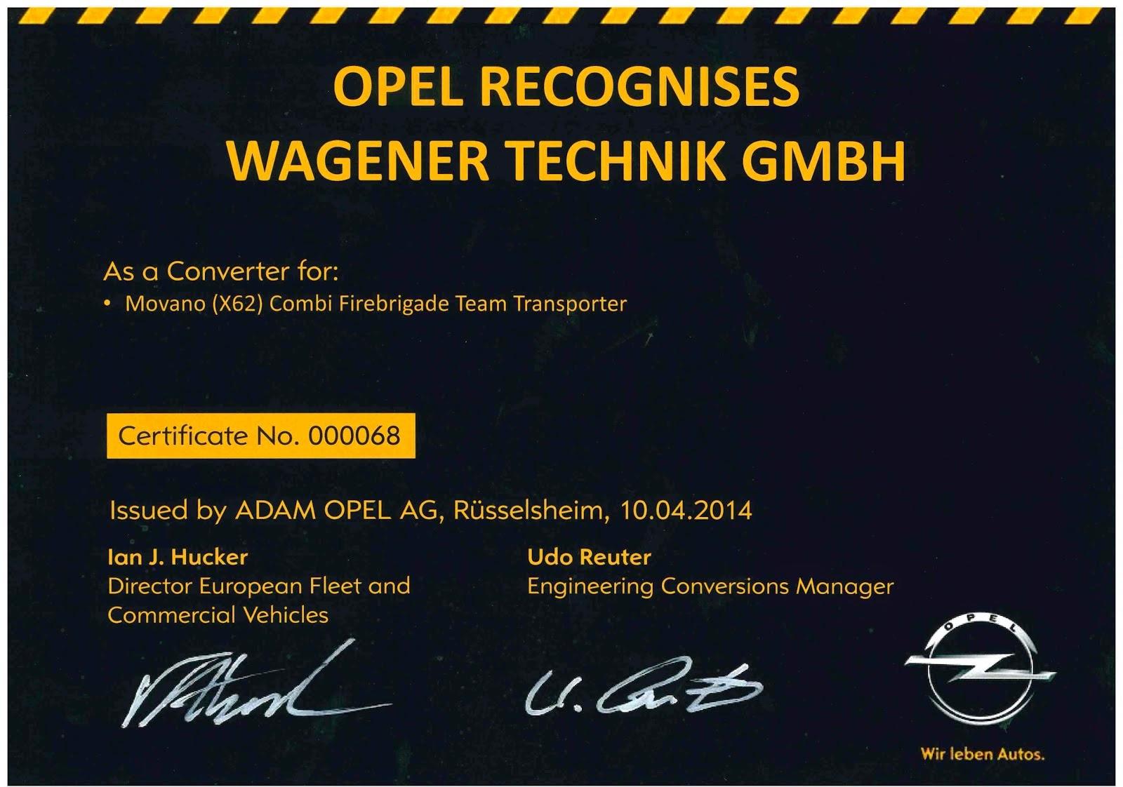 Opel Aufbauhersteller-Zertifikat 2014