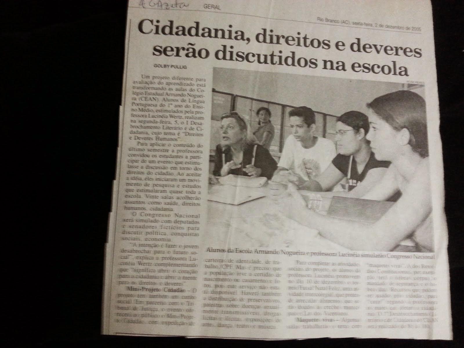 DESABROCHAMENTO LITERÁRIO OS DIREITOS HUMANOS EM CONGRESSO da Escola Armando Nogueira e BCCCV