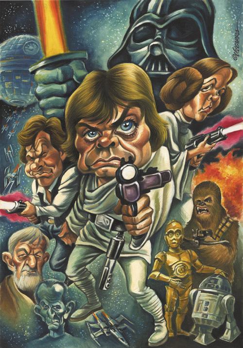 """Caricatura a color de """"Star Wars"""" por Joan Vizcarra"""