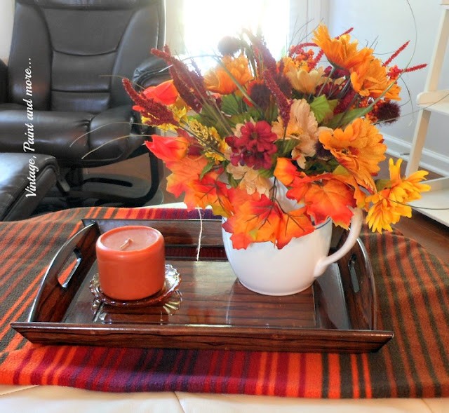 Vintage, Paint and more... a simple fall vignette done with colorful fall flowers and a vintage pitcher