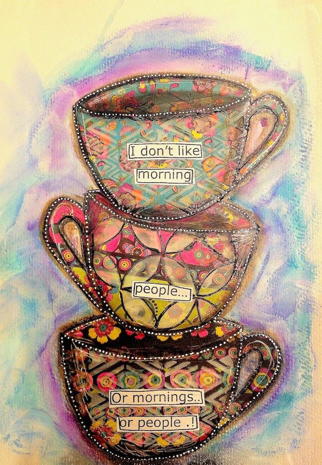 ART JOURNAL PAGE | COFFEE CUPS – Mixed Media Art Tutorials