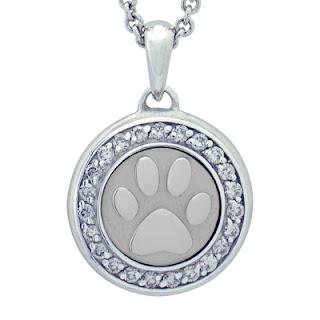 Paw with Diamonds Precious Vessel Cremation Ash Pendant