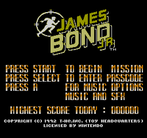 James Bond Jr. NES title screen