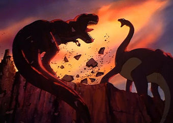 dinosaurs fighting in The Land Before Time 1988 animatedfilmreviews.filminspector.com