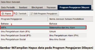Hapus data pada Program Pengajaran Dilayani