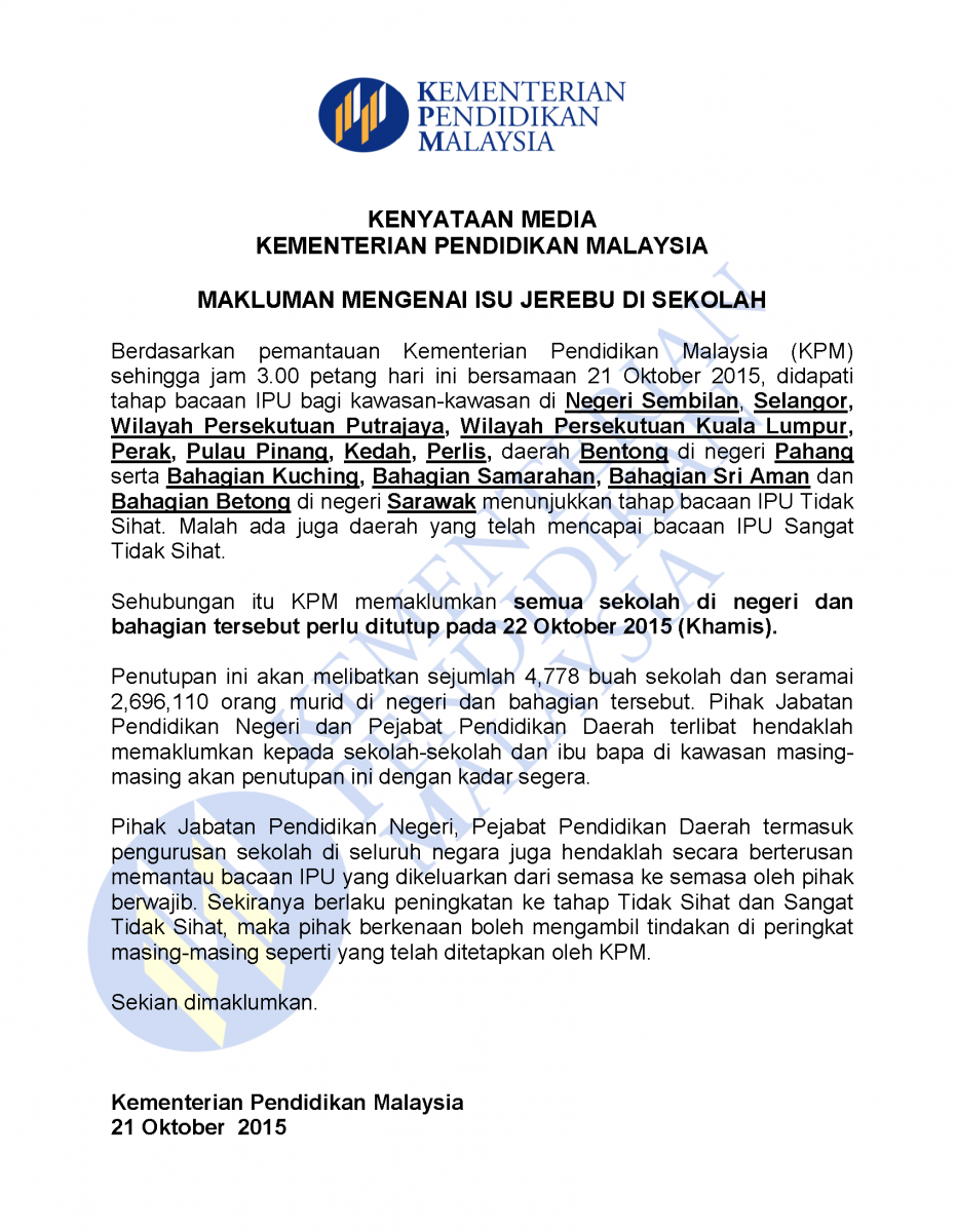 Senarai Sekolah Tutup 22 Oktober 2015 Akibat Jerebu